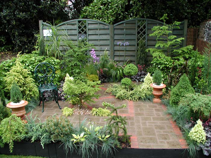 this garden aims to show how conifers can be used effectively with