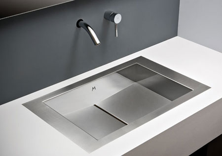 Tri mount stainless steel bathroom sink International Design Awards
